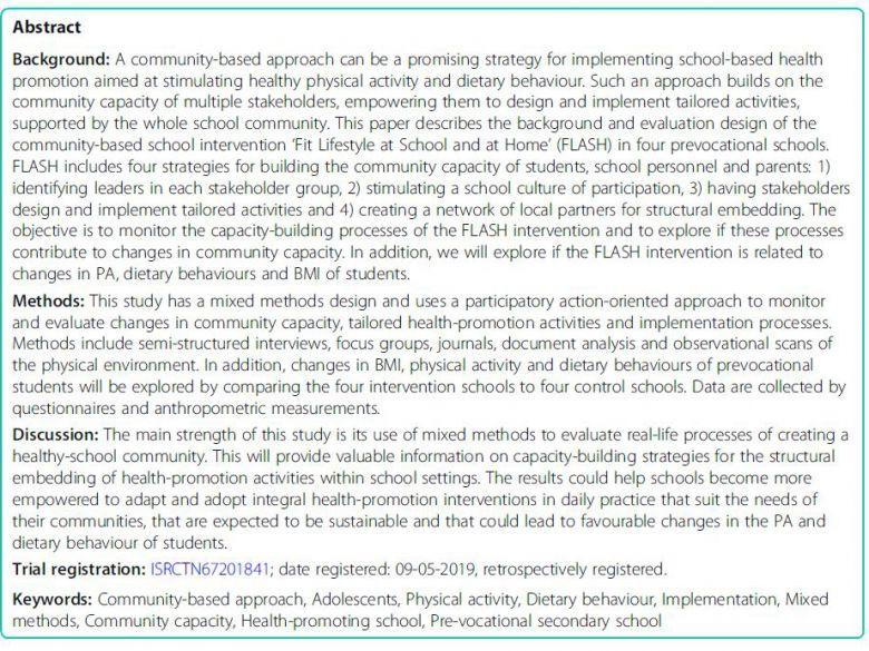 社區為基礎的健康促進學校介入背景與評價設計: 學校與家庭的體適能生活型態 Background and evaluation design of a community-based health-promoting school intervention Fit Lifestyle at School and at Home (FLASH)